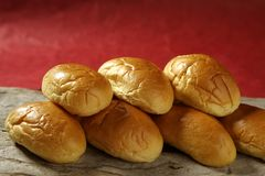 Brioche little bread stacked in two rows Royalty Free Stock Image