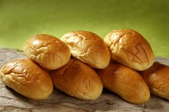 Brioche little bread stacked in two rows Stock Photos