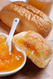 Brioche puff pastry with apricot jam Stock Photos