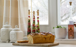 Brioche on the table Stock Images