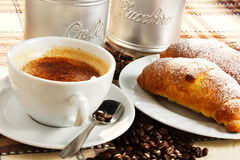 Brioches, caffee and Cappuccino. Brioche, caffee and cappucino and sugar Royalty Free Stock Photography