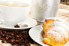 Brioches, caffee and Cappuccino. Brioche, caffee and cappucino and sugar Royalty Free Stock Image