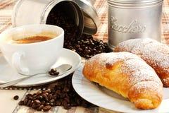 Brioches, caffee and Cappuccino. Brioche, caffee and cappucino and sugar Stock Images