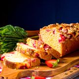 Brioches with rhubarb, strawberry and streusel. A brioches with rhubarb, strawberry and streusel Royalty Free Stock Photo