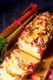 Brioches with rhubarb, strawberry and streusel. A brioches with rhubarb, strawberry and streusel Stock Photo