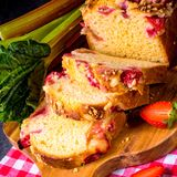 Brioches with rhubarb, strawberry and streusel. A brioches with rhubarb, strawberry and streusel Stock Photography