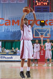 Brion Rush. SAMARA, RUSSIA - MAY 11: Brion Rush of BC Krasnye Krylia throw from the free throw line in a game against BC Enisey on May 11, 2011 in Samara, Russia Stock Image
