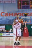 Brion Rush. SAMARA, RUSSIA - MAY 26: Brion Rush of BC Krasnye Krylia gets ready to throw from the free throw line in a game against BC CSKA on May 26, 2011 in Royalty Free Stock Photography