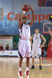 Brion Rush. SAMARA, RUSSIA - NOVEMBER 02: Brion Rush of BC Krasnye Krylia throw from the free throw line in a game against BC Lokomotiv-Kuban on November 02 Royalty Free Stock Images