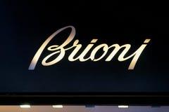 Brioni Sign on street shop window Rome stock image