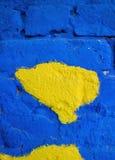 Brique bleue avec la façade jaune Photo libre de droits
