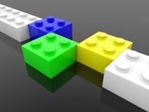 Briques bleues, vertes, blanches et jaunes de jouet dans une rangée illustration stock