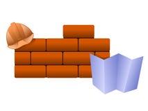 Briques, casque et modèle de vecteur. Image libre de droits
