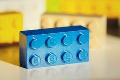 Briques colorées de Lego par Lego Group d'isolement sur le fond blanc Photographie stock