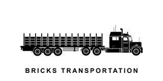 Briques détaillées transportant l'illustration de camion illustration libre de droits