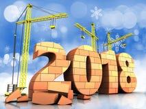 briques 3d signe de 2018 ans illustration libre de droits