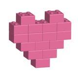 Briques de bâtiment au coeur du rose 3D illustration de vecteur