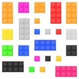Briques de jouet de construction Blocs constitutifs colorés réglés illustration libre de droits