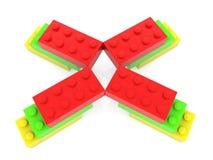 Briques de jouet dans trois couleurs illustration libre de droits