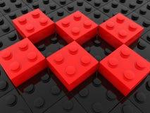 Briques de jouet en noir et rouge illustration de vecteur