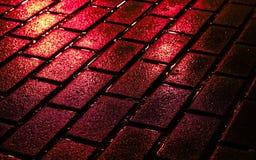 Briques de rue en couleurs Photographie stock libre de droits