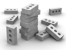 Briques de silicate sur une surface blanche illustration stock