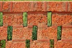 Briques en pierre rouges avec le fond de plantation de blé Image stock