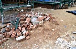 Briques et échafaudage Photos libres de droits