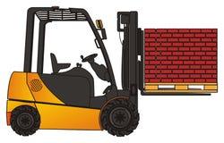 Briques et chariot élévateur illustration de vecteur