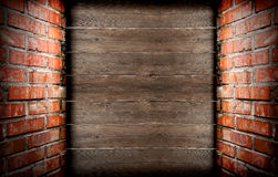 Briques et planches Photographie stock