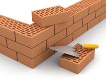 Briques et truelle (chemin de coupure inclus) Photo libre de droits