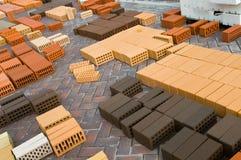 Briques rouges de construction Images libres de droits