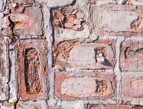 Briques rouges superficielles par les agents images stock