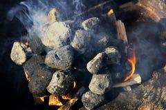 Briquette in a Grill Stock Photo