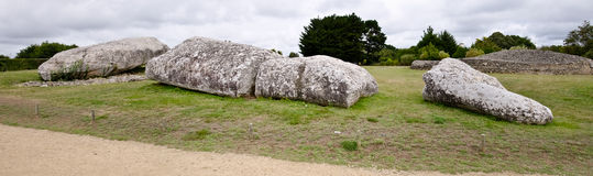 bris布里坦尼全部locmariaquer竖石纪念碑 库存图片