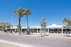 Brisas Playa de Palma. PALMA DE MALLORCA, BALEARIC ISLANDS, SPAIN - MAY 25, 2017: Brisas Mediterraneo restaurant on Playa de Palma beach May 25, 2017 in Palma de royalty free stock image