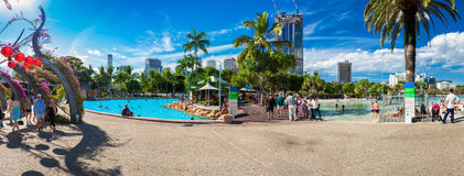 BRISBANE, AUS - APRIL 17 2016: Streets Beach in South Bank Parkl. And. It's inner-city man-made beach next to city center Royalty Free Stock Photography