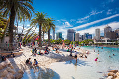 BRISBANE, AUS - APRIL 17 2016: Streets Beach in South Bank Parkl. And. It's inner-city man-made beach next to city center Stock Images