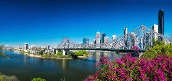 BRISBANE AUS - AUGUSTI 9 2016: Panoramautsikt av Brisbane Skylin Fotografering för Bildbyråer