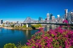 BRISBANE AUS - AUGUSTI 9 2016: Sikt av Brisbane horisont med Sto Arkivfoton