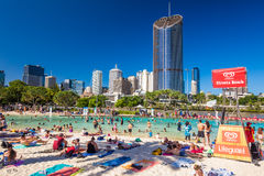 BRISBANE, AUS - DEC 29 2016: Streets Beach in South Bank Parklan. D. It`s inner-city man-made beach next to city center Royalty Free Stock Images