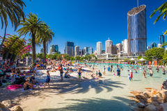 BRISBANE, AUS - DEC 29 2016: Streets Beach in South Bank Parklan. D. It`s inner-city man-made beach next to city center Stock Photo