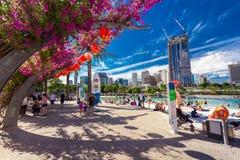 BRISBANE, AUS - KWIECIEŃ 17 2016: Ulicy plaża w południe banku Parkl Zdjęcia Stock