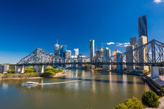 BRISBANE, AUS - MAY 12 2015: Ferry boat under Story Bridge in Br Stock Images