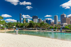 BRISBANE, AUS - NOV 18 2015: Streets Beach in South Bank Parklan. D. It's inner-city man-made beach next to city center Royalty Free Stock Photos