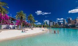 BRISBANE, AUS - NOV 18 2015: Streets Beach in South Bank Parklan Royalty Free Stock Photo
