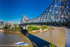 BRISBANE, AUS - SEP 09 2015: Ferry boat under Story Bridge in Br Royalty Free Stock Photos
