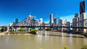 BRISBANE, AUS - SEPTEMBER 9 2015: Panoramic view of Brisbane Skyline stock footage