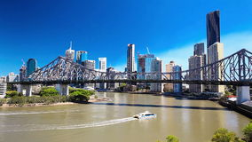 BRISBANE, AUS - SEPTEMBER 9 2015: Panoramic view of Brisbane Skyline stock video footage
