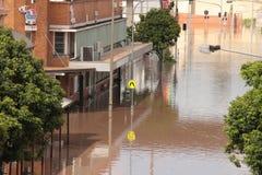 BRISBANE, AUSTRÁLIA - JANEIRO 13: Inundação Fotografia de Stock